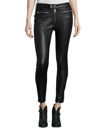 Ryder Leather Skinny Jeans, Black