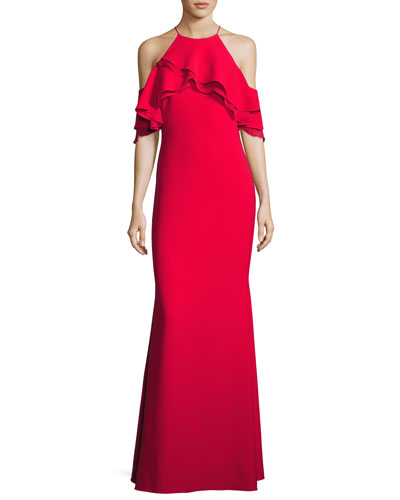 Ruffle-Trim Ponte Popover Gown, Red