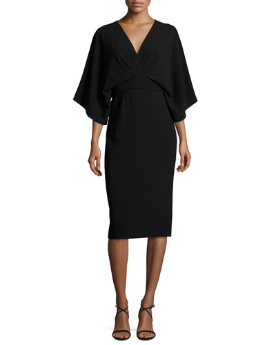 Kimono Stretch-Crepe Dress, Black