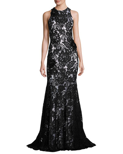 Beaded Sleeveless Lace Mermaid Gown, Black/White