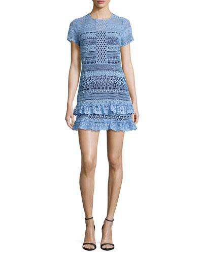 Darcy Lace Tiered-Hem Mini Dress, Powder Blue