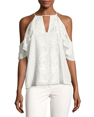 Roma Embroidered Floral Cold-Shoulder Top, Ivory