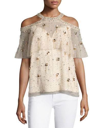 Genevieve Embellished Silk Popover Blouse, Nude