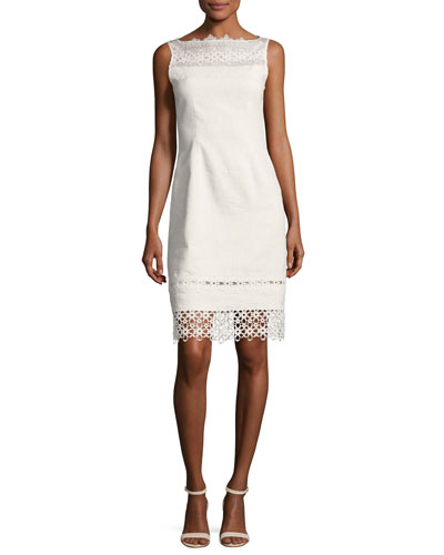 Kallista Sleeveless Lace-Trim Sheath Dress