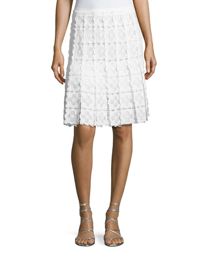 Tyler Floral-Lace A-Line Skirt, White