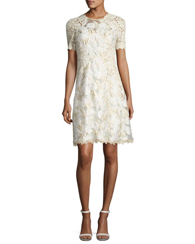 Larsa Short-Sleeve Lace Dress, Cream