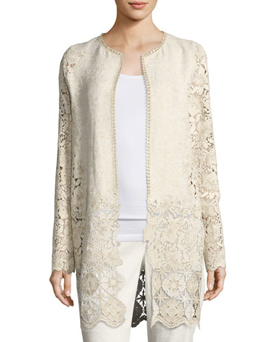Jaya Floral Lace Coat, Multi