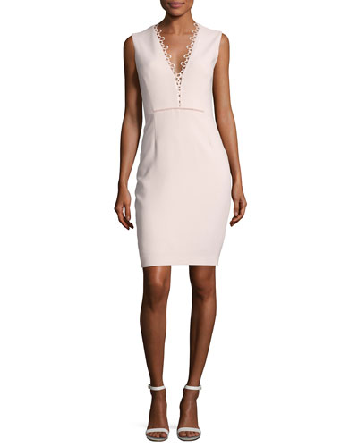 Saylah Sleeveless Lace-Trim Sheath Dress, Pink