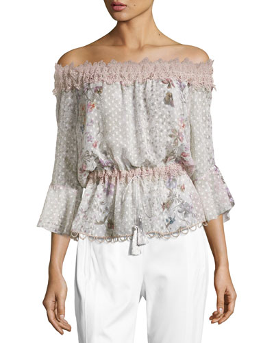 Zoia Off-the-Shoulder Floral Blouse, Multi