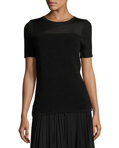 Ava Short-Sleeve Ribbed Merino Sweater, Black