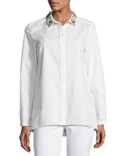 Teanna Floral-Trim Button-Front Blouse, White