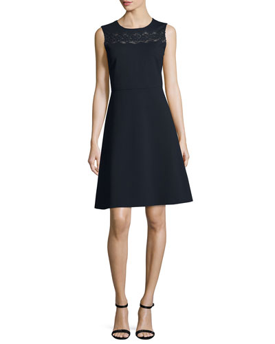 Fallon Sleeveless Lace-Yoke A-Line Dress, Blue