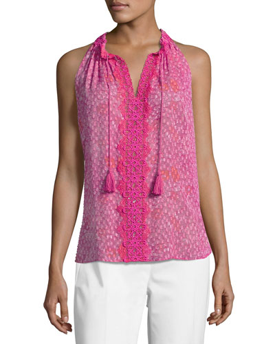 Sashi Sleeveless Floral-Print Silk Blouse, Multi