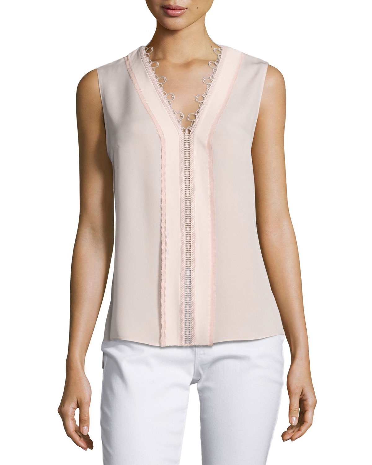 Colette Sleeveless Lace-Trim Silk Blouse, Pink