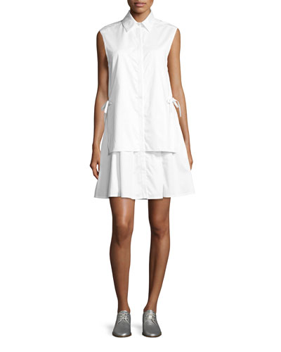 Sleeveless Layered Poplin Dress w/ Side Ties, White