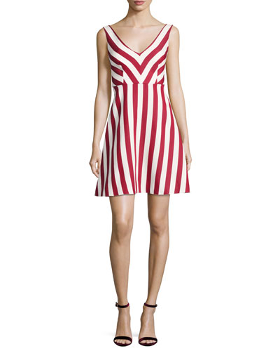 Sleeveless Striped Cotton-Blend Dress, Red