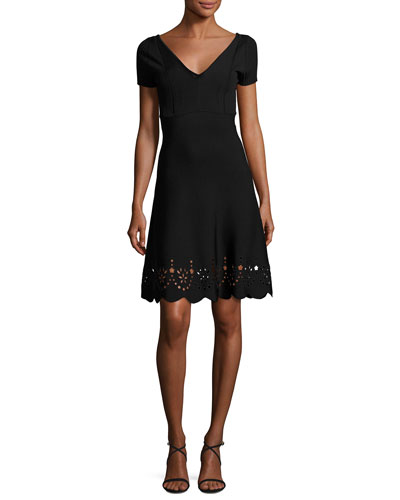 Short-Sleeve Scalloped Eyelet-Trim Dress, Black