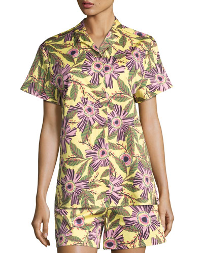 Short-Sleeve Passionflower-Print Stretch-Poplin Top, Multi