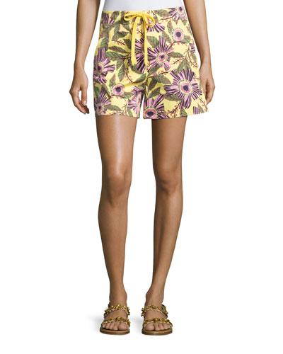 Passionflower-Print Stretch-Poplin Shorts, Multi