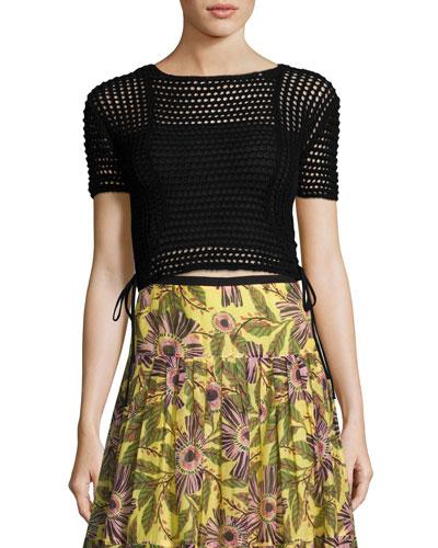 Short-Sleeve Crochet Crop Top, Black