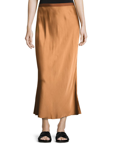Satin Midi Slip Skirt, Bronze