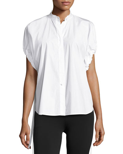 Drawstring-Sleeve Cotton Poplin Top, White
