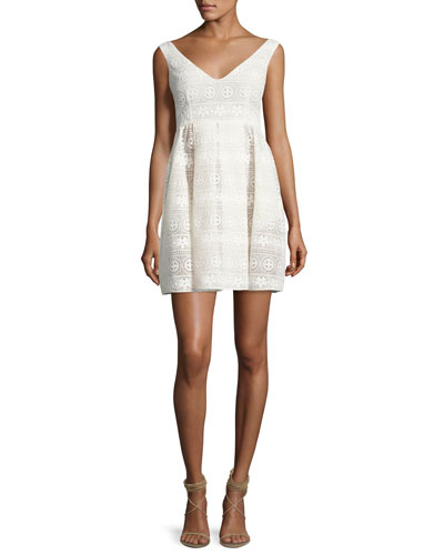 Sleeveless V-Neck Floral Macrame Dress, White