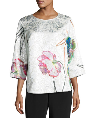 Rise & Shine Jacquard Top, Plus Size