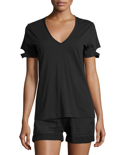 Slit-Cuff Cotton Jersey V-Neck Tee, Black