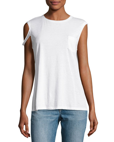 Raw-Edge Pima Jersey Tee, White