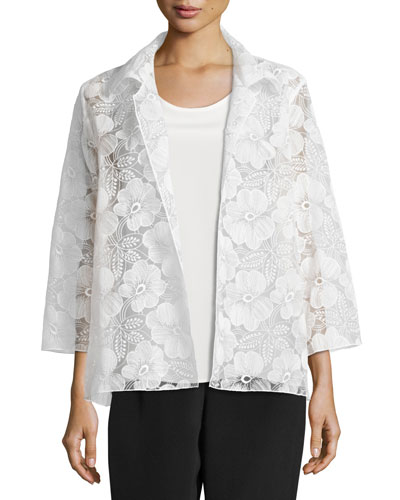 Morning Glory Organza Easy Shirt, Plus Size