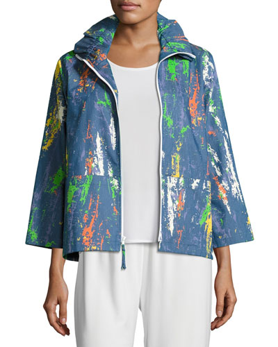 Paint Splash Zip-Front Denim Jacket, Plus Size