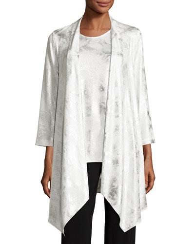 Silver Cloud Drape-Knit Cardigan, White/Silver