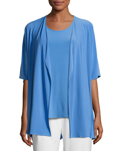 Knit Open-Front Cardigan, Medium Blue, Petite
