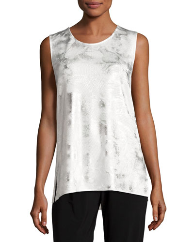 Silver Cloud Knit Long Tank, White/Silver, Petite