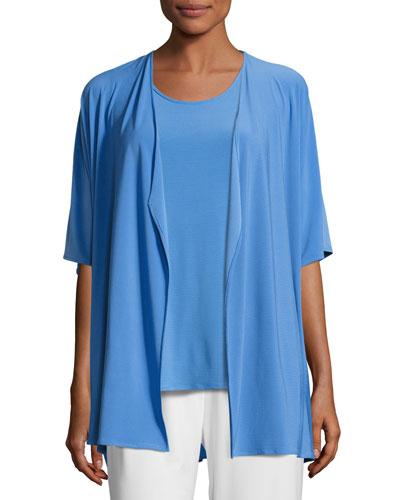 Knit Open-Front Cardigan, Medium Blue, Plus Size
