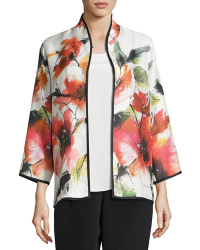 Poppy Bouquet Mandarin-Collar Jacket, Multi, Plus Size