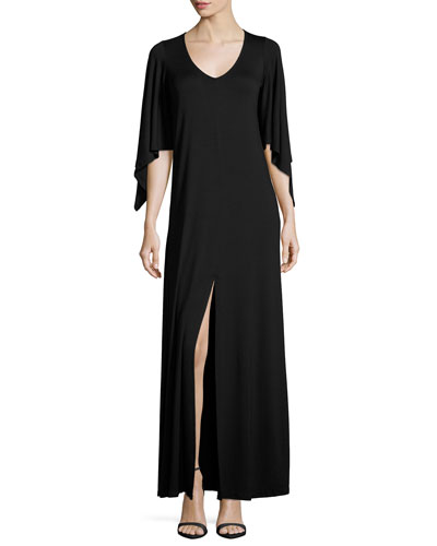 Megane Cape-Sleeve Maxi Dress, Black