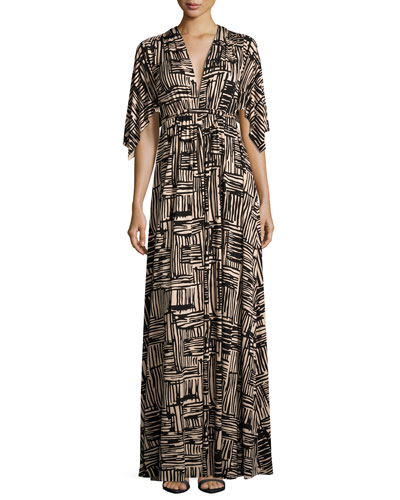 Cape-Sleeve Printed Caftan Maxi Dress, Etch Print