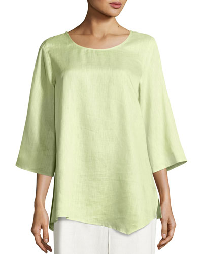 3/4-Sleeve Angled-Hem Caftan Top, Lime, Plus Size