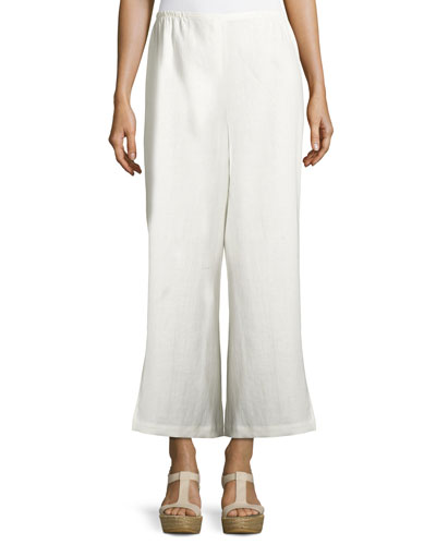 Wide-Leg Linen Ankle Pants, White, Plus Size