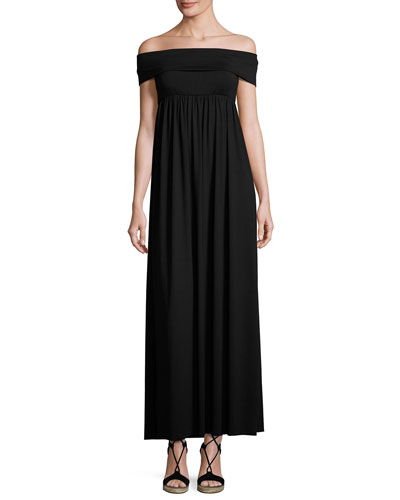 Midsummer Off-the-Shoulder Jersey Maxi Dress, Black, Plus Size
