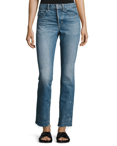Distressed Faded Straight-Leg Jeans, Light Blue