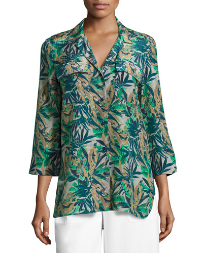 Fran 3/4-Sleeve Santa Clara Palm Seersucker Blouse, Multi