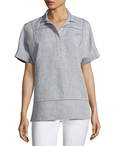 Short-Sleeve Yarn-Dyed Linen Top, Medium Blue