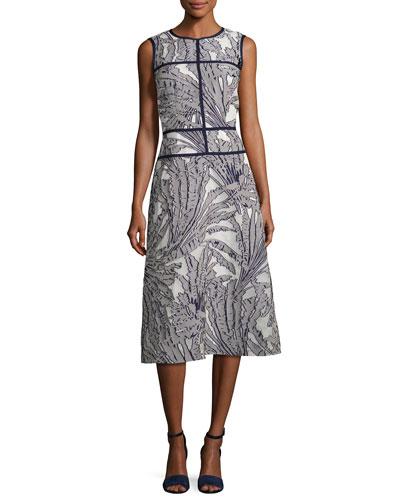 Damaris Tropical-Print Fil Coupé Dress