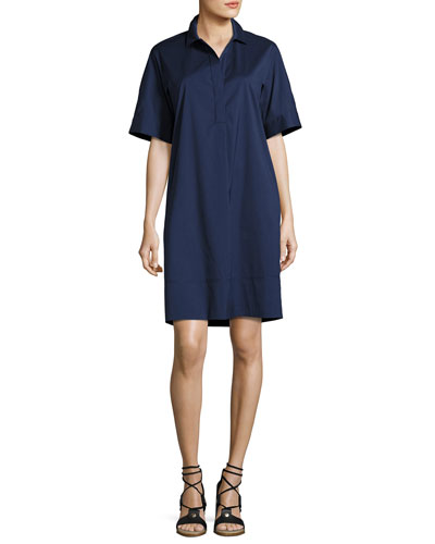 Jaxine Stretch-Cotton Shirtdress, Dark Blue