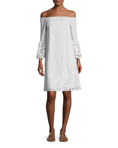 Off-the-Shoulder Mélange Striped Dress w/ Floral Cutouts