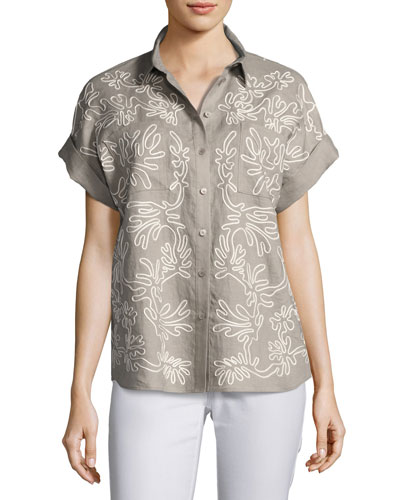 Rosalia Embroidered Linen Button-Front Blouse, Gray