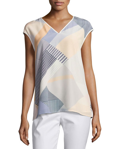 Bryson Cap-Sleeve Zaza Striped Silk Blouse, Multi